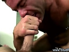 Mature gay masseur gives tugjob to straight client