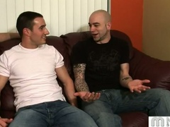 Three gay guys talk and start fondling and kissing