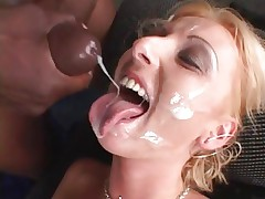 Tracey Lane receives her face showered in hot cum