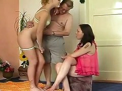 Amateur threesome party where old and obese daddy fucks 2 gals
