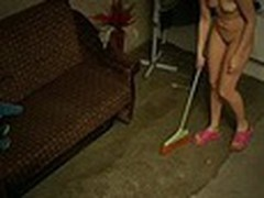 The owner of this terrible apartment was glad when he saw how neat this new beauty was but we are pretty sure that he enjoyed her juvenile naked body shamelessly filmed by spy camera even more!