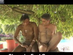 Hawt swarthy t-girl feeds her obese sturdy shaft to a ready waiter at the cafe