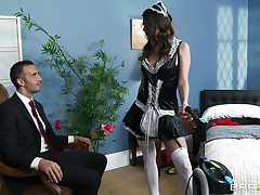 This cute brunette is employed as cleaning woman. Her boss is watching her how this babe is working and this guy is very lascivious and want to fuck her. The boss put her on the bed and begin to take up with the tongue her wet crack and ass. Then this guy introduce his large jock in her soaked snatch and begin to fuck her very unfathomable and hard.