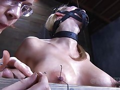 Look at this fucking cheap whore, probably that babe was waiting for some old fashioned ass whipping and throat fucking. Maybe that babe will acquire some of that later but now, the breasty sex serf is going to experience smth more intense. With precision and skill they tie her nipples and fingers with wire, want to know why?