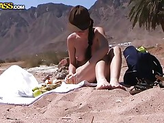 Aurita is at the beach, she's hawt and needs to cool down. The hawt brunette takes a sit with her boy and undresses to relax underneath the burning sun. Look at her small hawt tits, hawt haunches and what that babe has between them. Maybe her slit is all perspired and that babe will like a hard dick deep inside it.