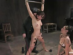 Vai is a sexy brown haired milf who enjoys having electrodes all over her body while this babe is fastened up with bondage devices. She also has a ball gag in her mouth, because they know this babe is a screamer. She has a large time fun when Princess Donna Dolore takes a vibrator and starts rubbing on that shaved pussy.