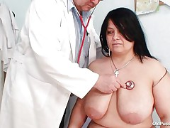 Chubby brunette Rosana went to doctor's to get her body checked up well. But there is this nasty pervert doctor who makes her naked and begins playing with her firm fat body! See how he is toying with her huge breasts and gaping her pussy. He even fingers it to make her horny so that he can screw her well!