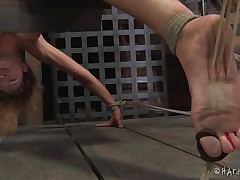 This is something very nice. The hot blonde Rain is tied on specially designed platform that keeps her bent over with her ass up. Her executor uses metal clamps to widen her fragile pussy lips and offers us a great view of her cunt. Rain is experiences more humiliation that she ever could it's possible, and can't live without it!
