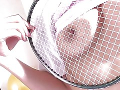 Japanese dark brown Suzu Minamoto has nothing but a badminton racket to shove in her soaked pussy. She'll have to settle for shuttlecock instead of real cock. that babe rubs the strings on her nipples and then jams the birdie up her twat.
