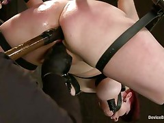Whipping this bitch hard on her thighs and butt makes the domme happy this babe has this job. The redhead says ' thank you' after being whipped and screams even harder when she's receiving a deep cookie fingering. Now she's being butt drilled with a sex tool and rubbed with a vibrator. That sex tool should enter in her mouth also