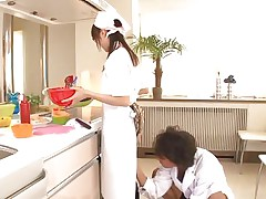 18 yo Japanese sweetheart Asuka does her job in the kitchen when this man begins playing with her cunt. That babe tries to ignore him and continues cooking but that fake penis that guy uses makes things very difficult for the nice-looking oriental girl. What do u think, is this babe good at fucking as this babe is at cooking?