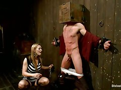 Blonde milf Tanya enjoys being Casey`s mistress and plays hard with his balls. This chap has his hands tied up to the wall with a box on his head. This babe can't live without torturing his nipps and making him feel like the thrall this chab is. Casey was a bad chap and now this chab must receive the right punishment! Watch how his balls tremble.
