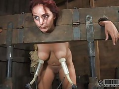 Ashley Graham is tied up in shackles with a milking machine attached to her huge breasts. This babe a impure whore and these fellows castigate her with humiliating tasks. She's tied to her chair so you can get a better look at her huge melons.