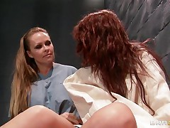 Watch how a sexy blonde receives of leash a avid sexy redhead babe and starts playing with her sexy scones and makes her horny. Look how mean is the blonde and how that babe fingers the patients tight cunt. Is that going to bring her some 10-Pounder or sperm on their wet lips?