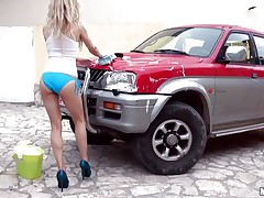 Hawt Michelle Moist is at outdoor washing a car. And that babe is all wet due to this washing stuff. Well, wet means that babe is wet in her c section too. Getting crazy with her temptation that babe is taking off her clothes and showing her small mangos and constricted ass. And that attracts a dick which that babe is sucking now.