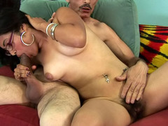 Horny plump chick gets her hot hirsute cum-hole drilled by a dick!