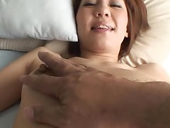 Pretty Oriental mother i'd like to fuck sucks on hard schlong and her hirsute cunt fingered