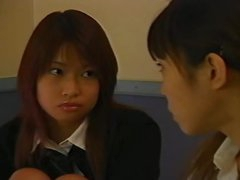 Japanese cuties in skirts make out