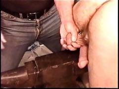 Hot muscle fellow Derek Da Silva gets balls bashed on iron anvil.