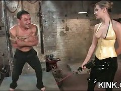 Domination tart drills a guy with a strap-on