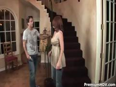 Sexy redhead mommy sucks and fucks youthful cock on the stairs