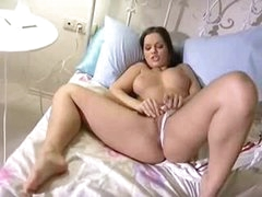 Hot masturbating Euro girl in sofa