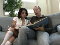Horny Schoolgirl Andrea Kelly Copulates Her Stepdad's Large Cock