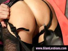 Stylish glamorous stocking lesbians